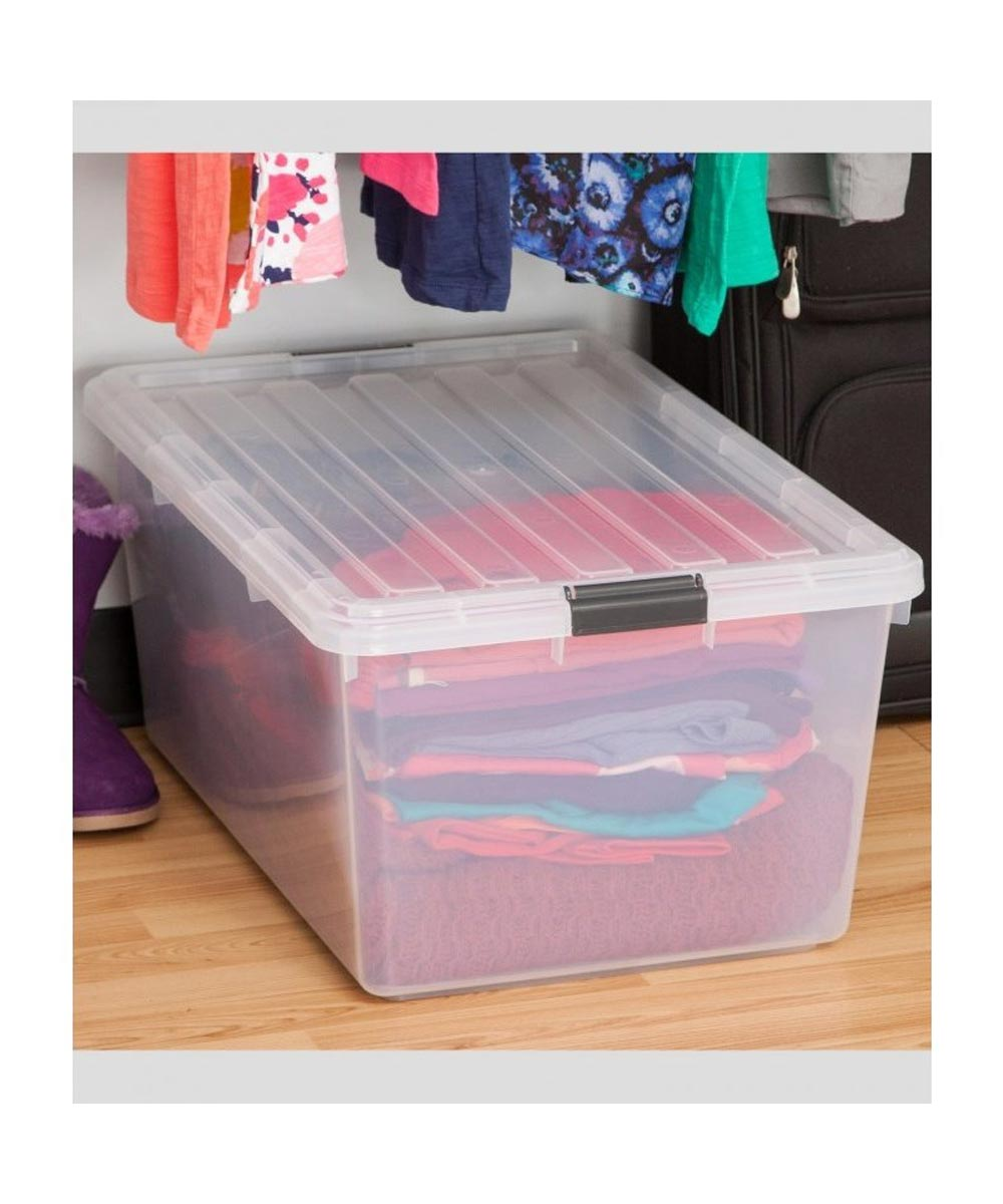 Storage Box with Buckle Locking Lid, Clear, 68 Quarts / 17 Gallons