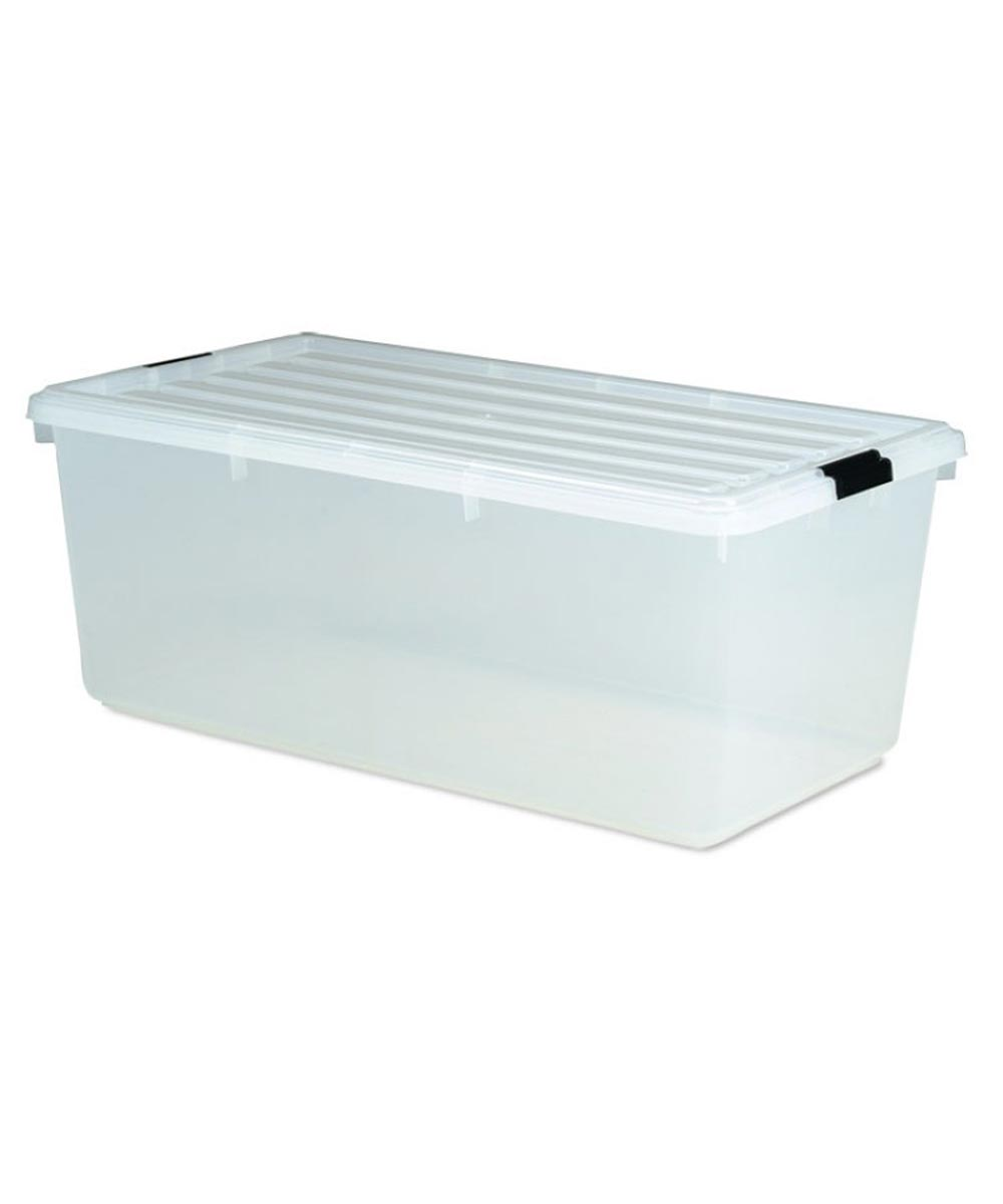 Storage Box with Buckle Locking Lid, Clear, 91 Quarts / 22.75 Gallons
