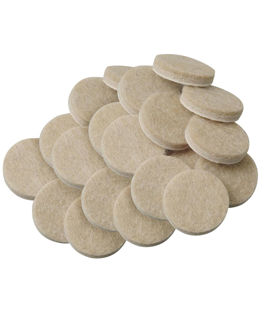 3/4 Inch Oatmeal Round Self-Stick Felt Pads 20 Count