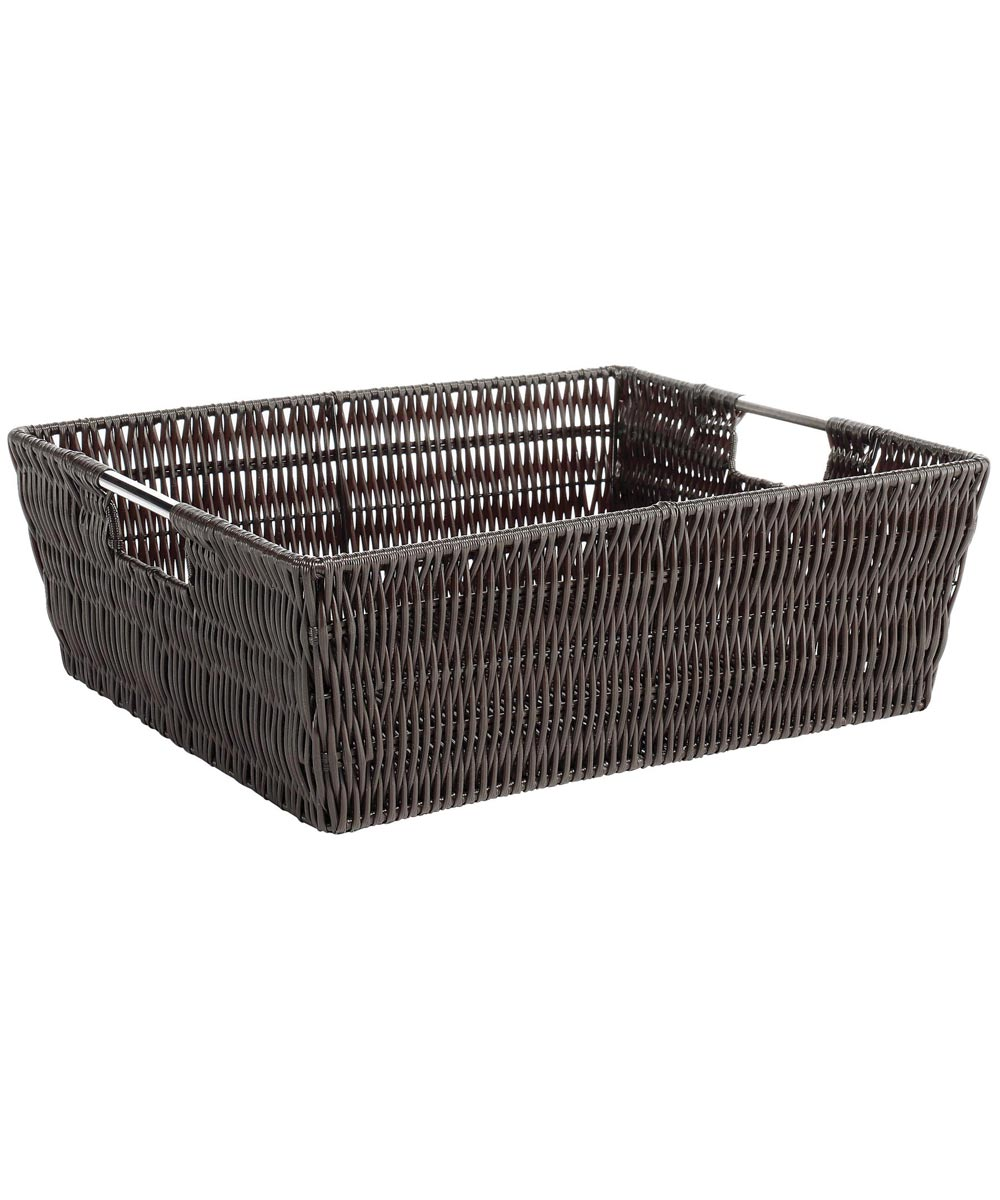 Espresso Rattique Shelf Storage Tote
