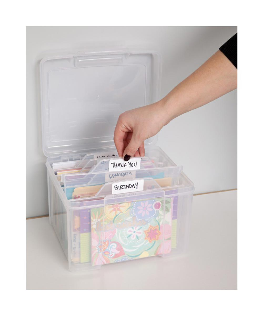 Greeting Card and Craft Keeper Storage Box with 6 Dividers