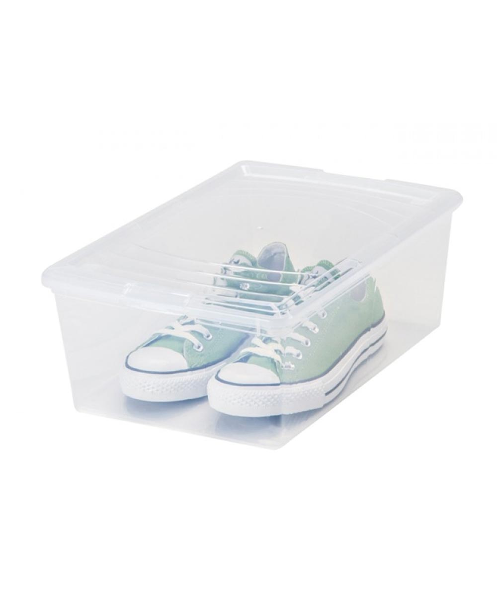 8-Box Pack Modular Storage Box (Large Shoe Box), Clear, 13.5 Quarts/3.375 Gallons