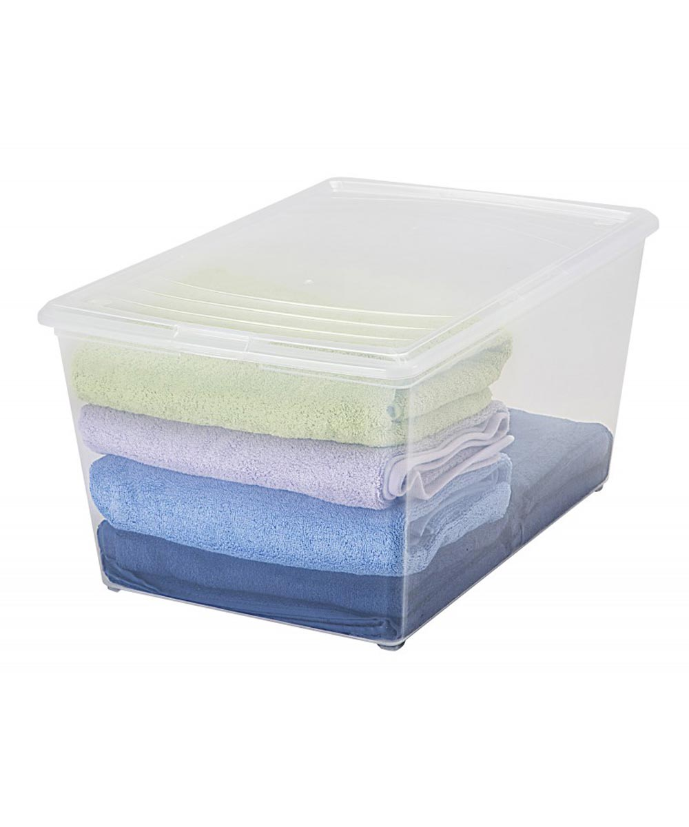 Modular Deep Storage Box, Clear, 64 Quarts / 16 Gallons
