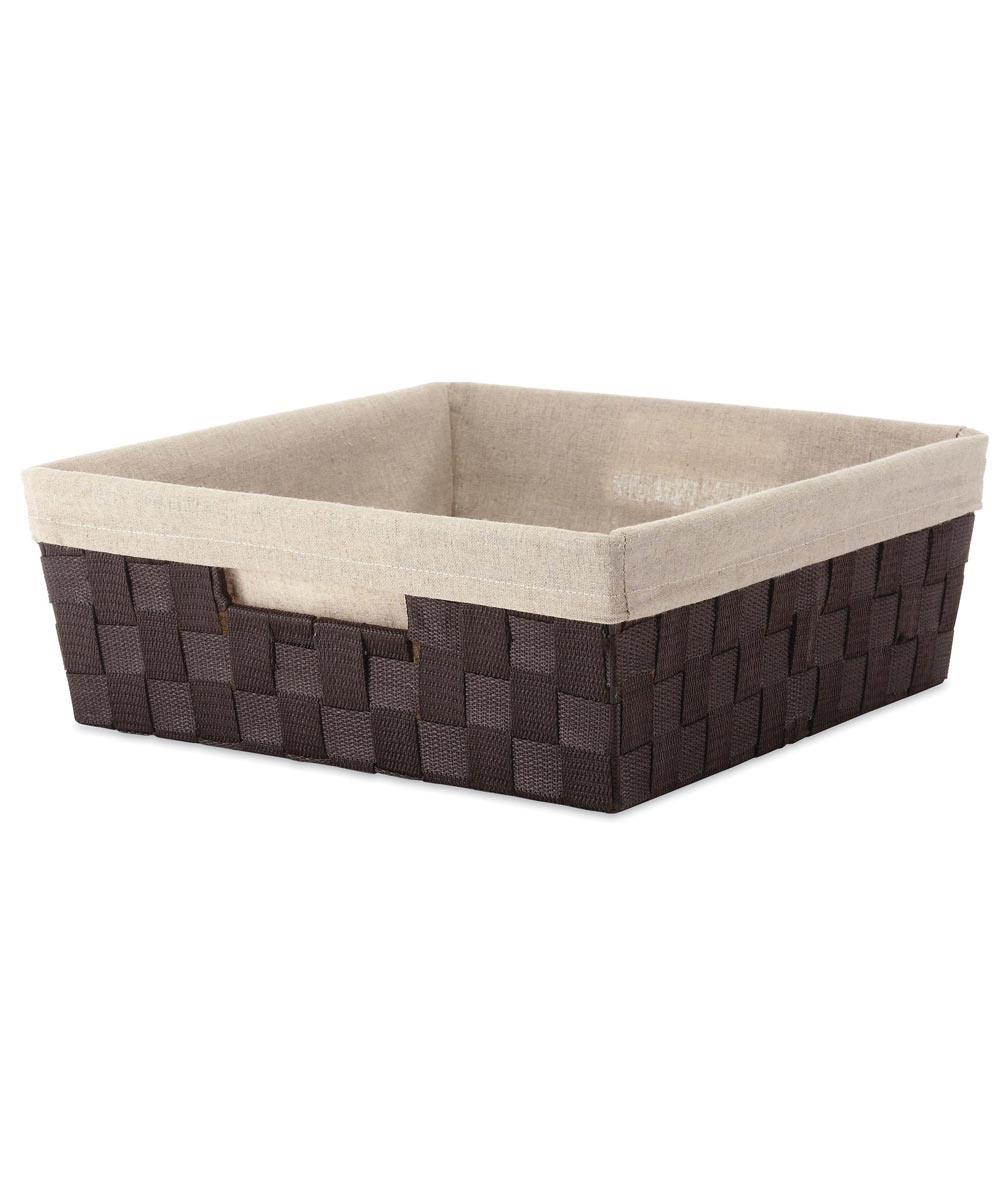 Espresso Woven Shelf Storage Tote with Liner