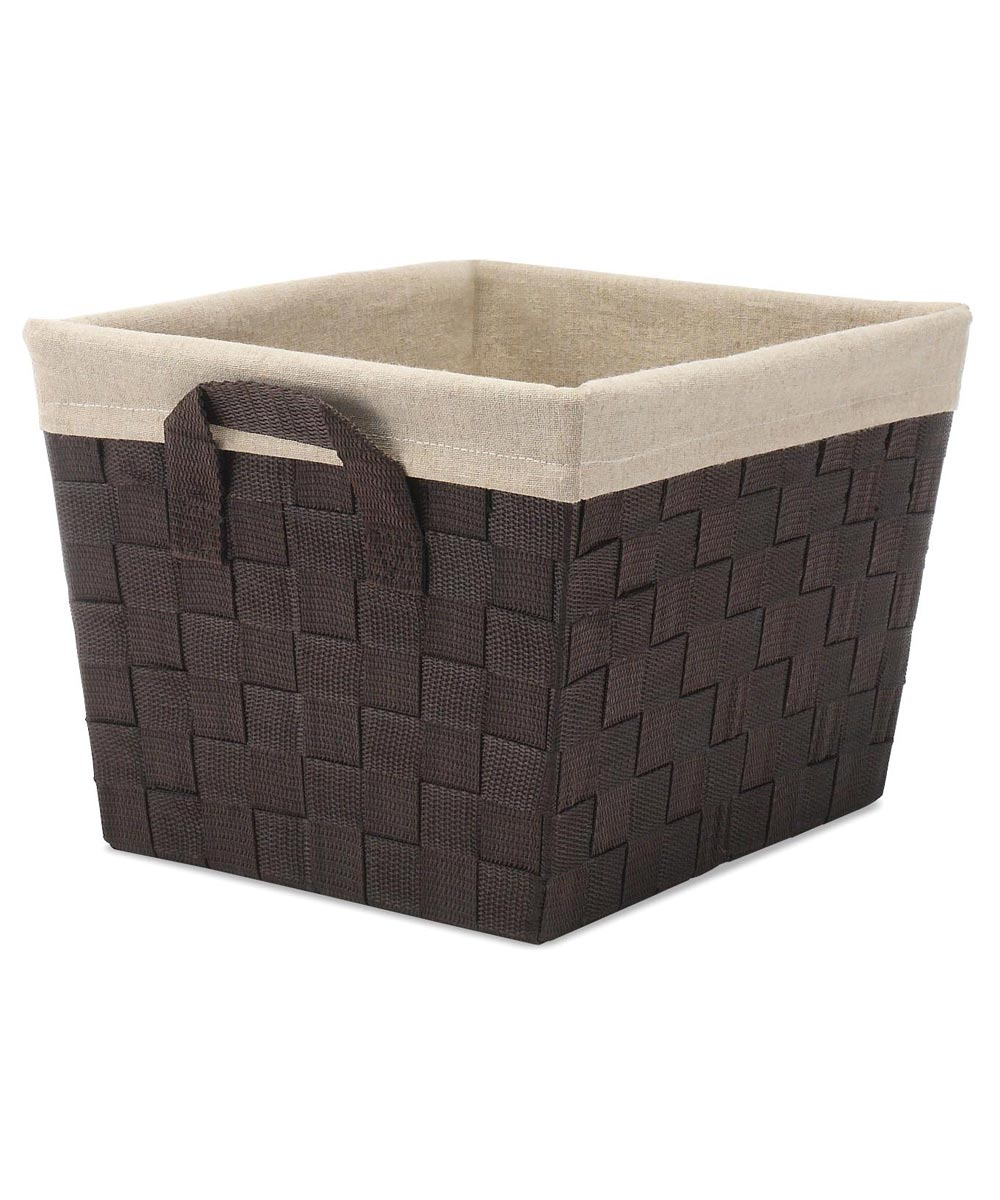 Espresso Woven Strip Storage Tote with Liner