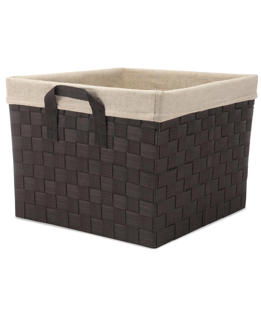 Espresso Woven Storage Tote with Liner
