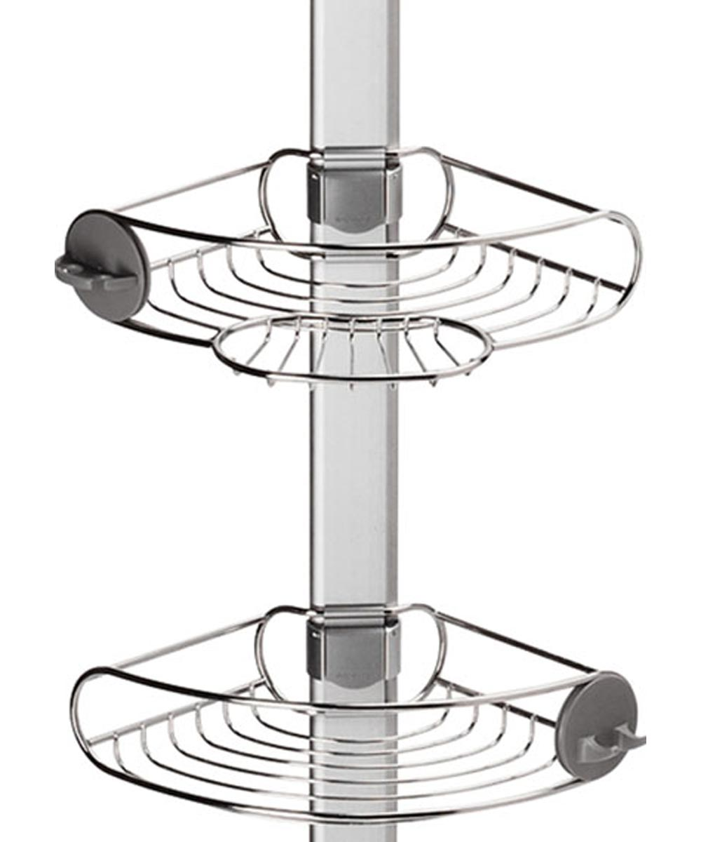 Tension Shower Caddy, Stainless Steel + Anodized Aluminum
