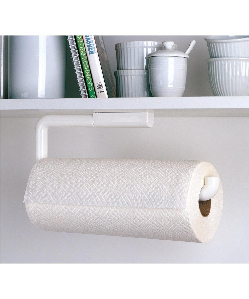 Hanging Paper Towel Holder, Wall Mounted or Under Cabinet, White
