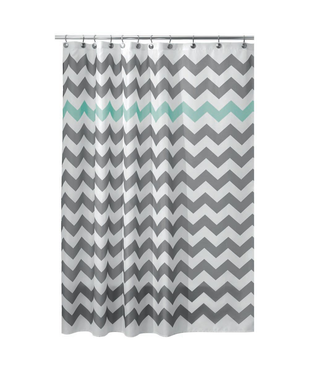 72x72 Inch Polyester Shower Curtain, Gray/Aruba Chevron Design