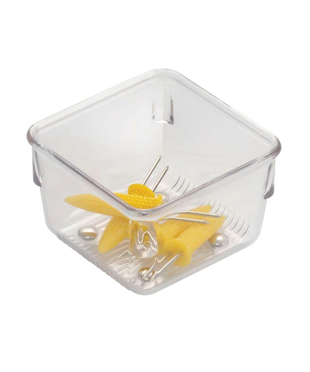 Linus Kitchen Drawer Organizer Container, Clear, 3x3x2 Inches