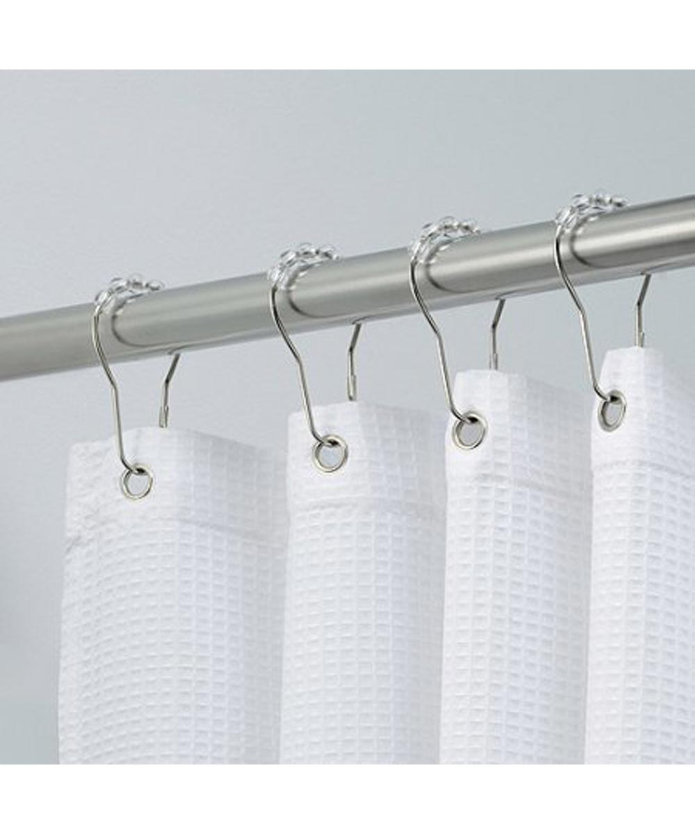 Rollerz Shower Curtain Hooks with Chrome Rings & Plastic Roller Balls, Set of 12