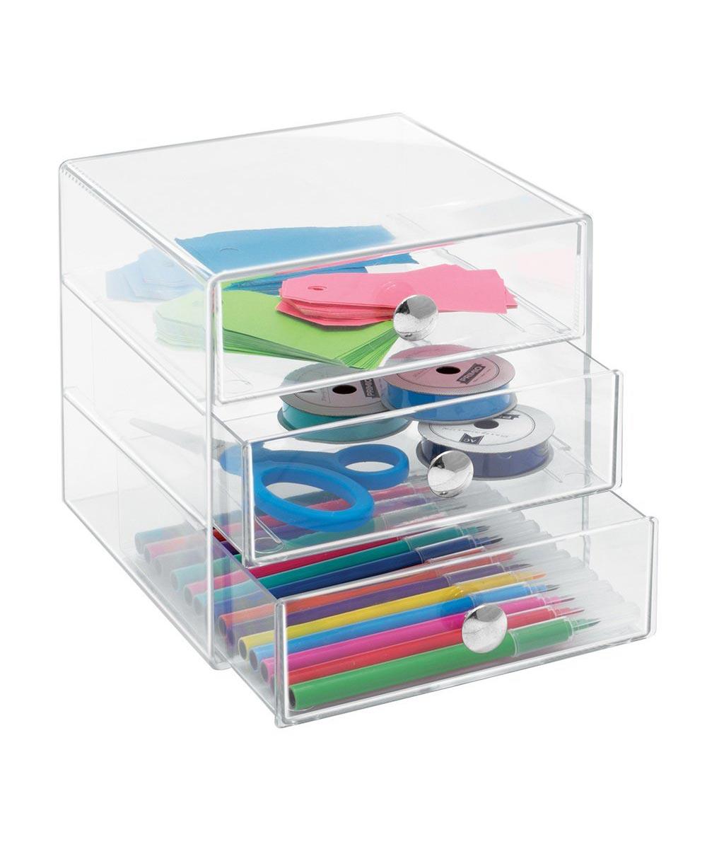 3-Drawer Multipurpose Organizer, Clear