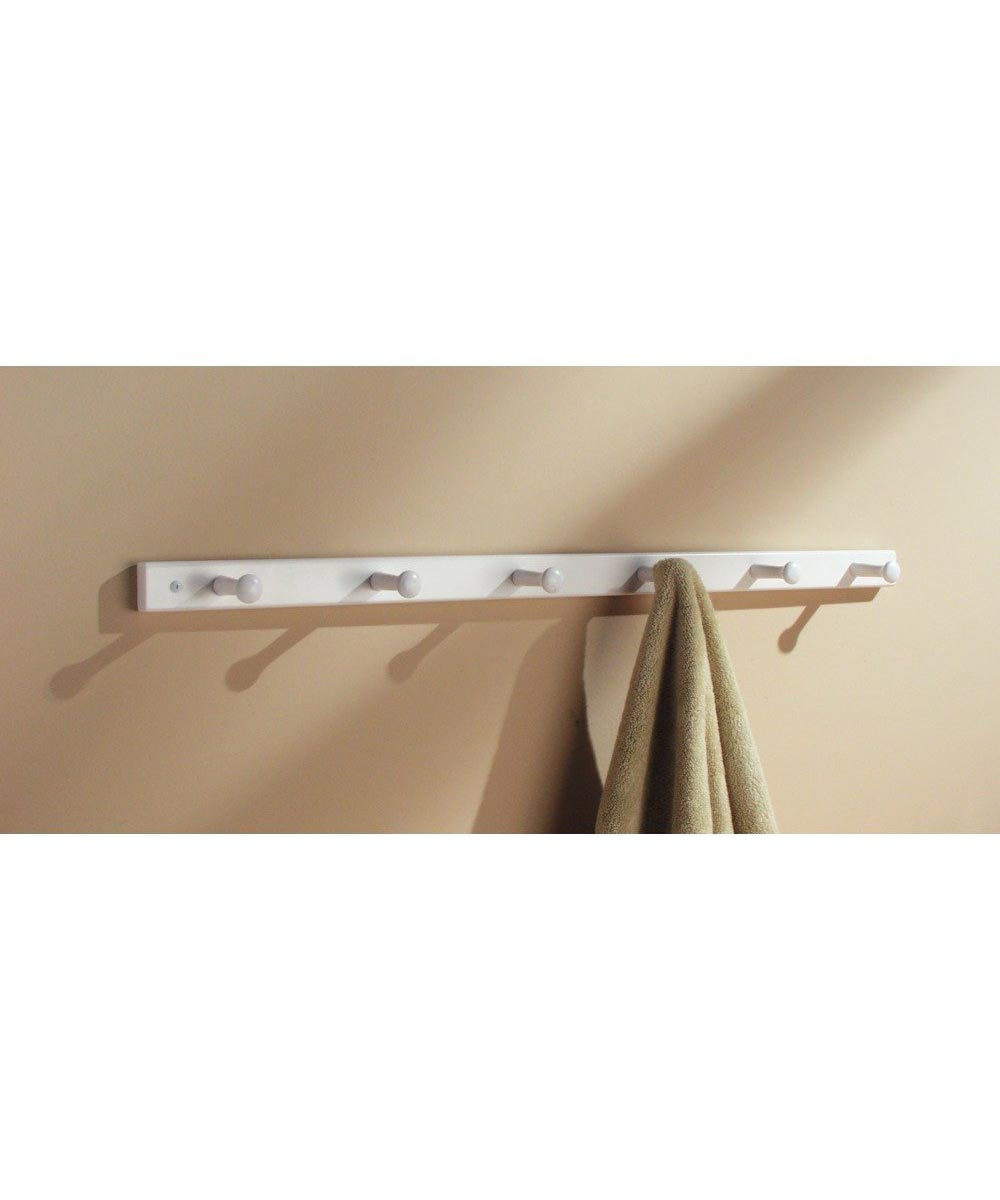 6-Hook Wall Mounted Coat Rack, White