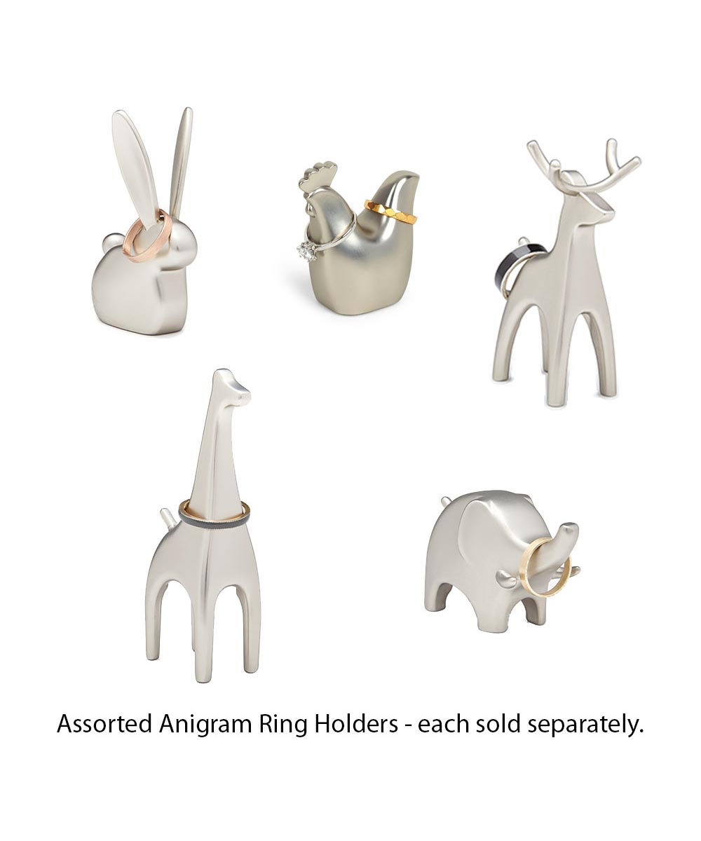 Anigram Nickel Plated Ring Holder, Assorted Animals