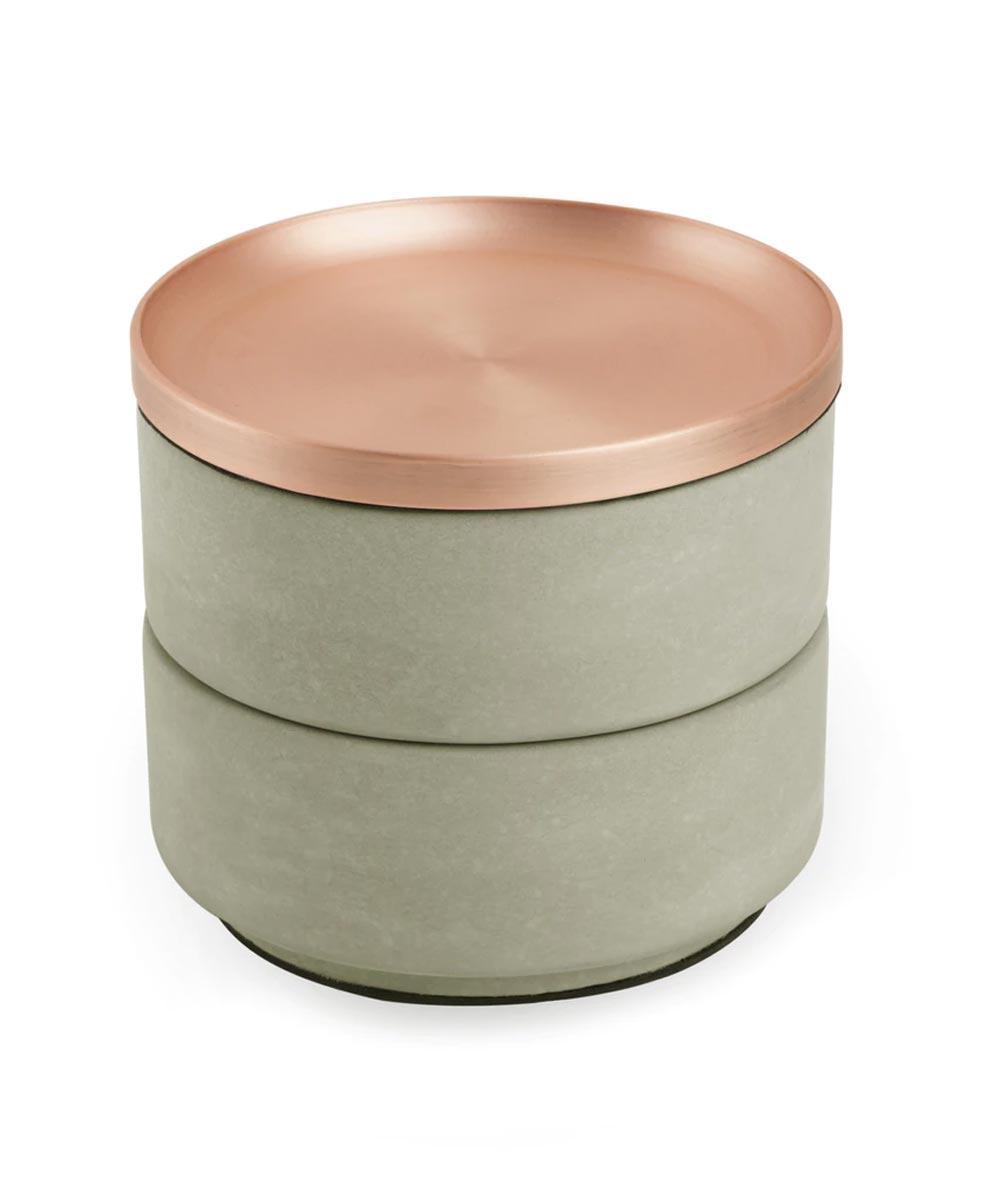 Tesora Round Stacking Jewelry Storage Box, Concrete & Copper