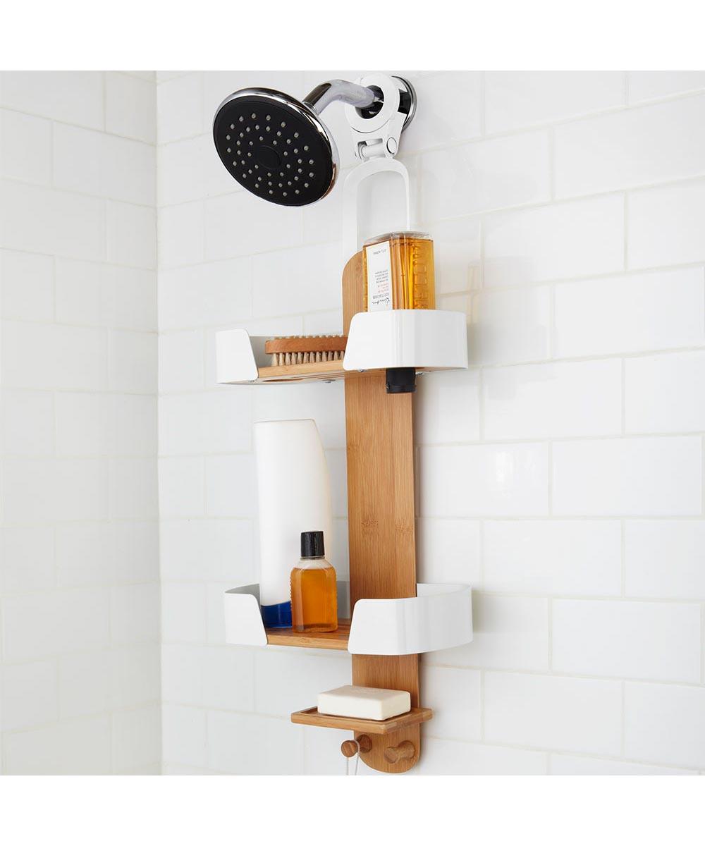 Decker Hanging Shower Caddy, Bamboo/Metal