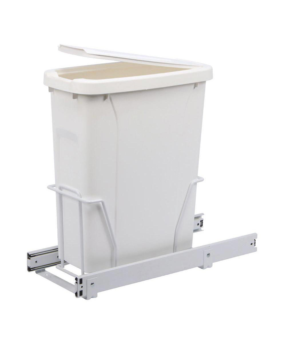 Knape & Vogt 20 Quart In-Cabinet Single Pull-Out Recycler / Trash Can, White