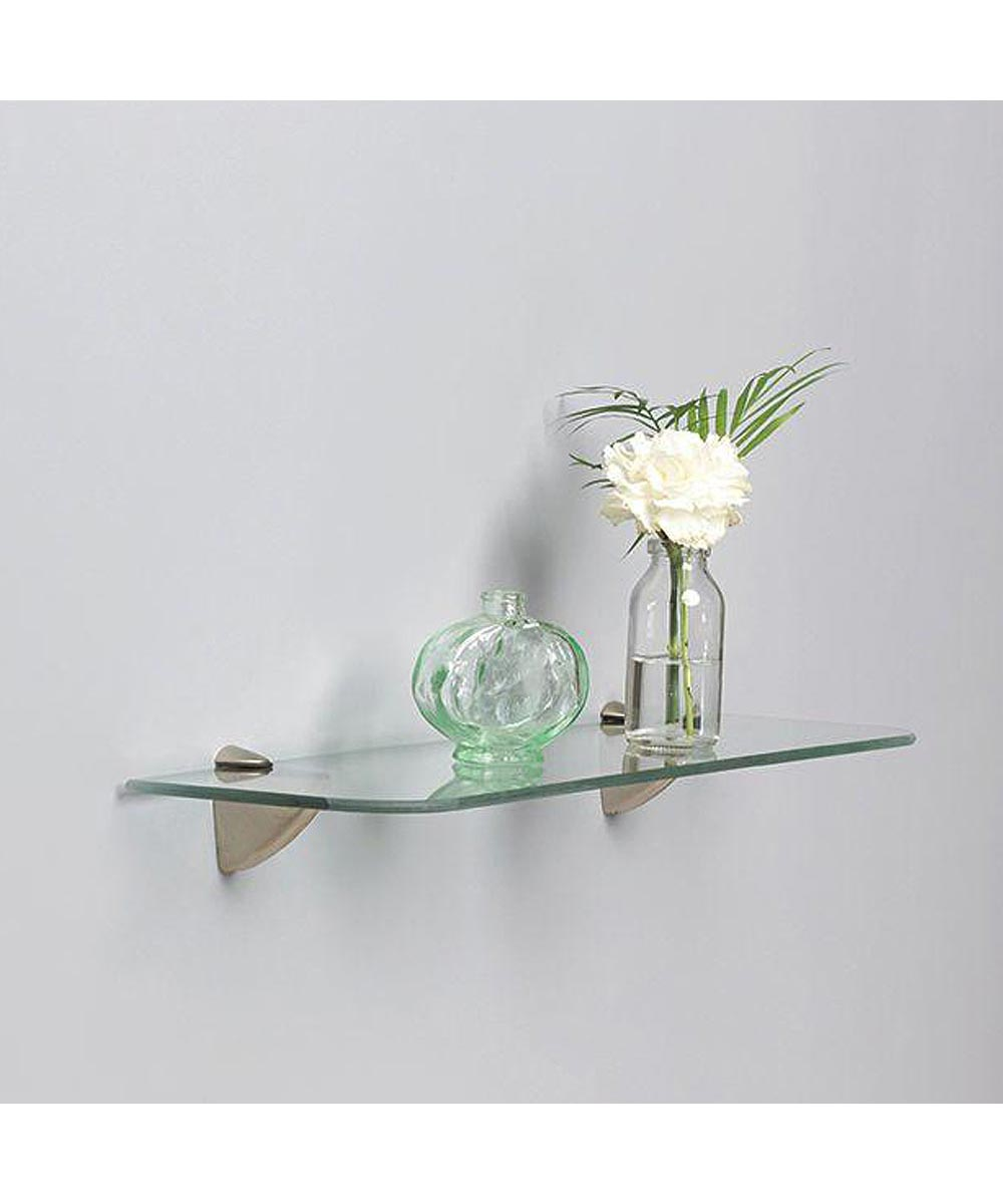 Knape & Vogt 6x24 Inch Glass Rectangle Wall Shelf Kit