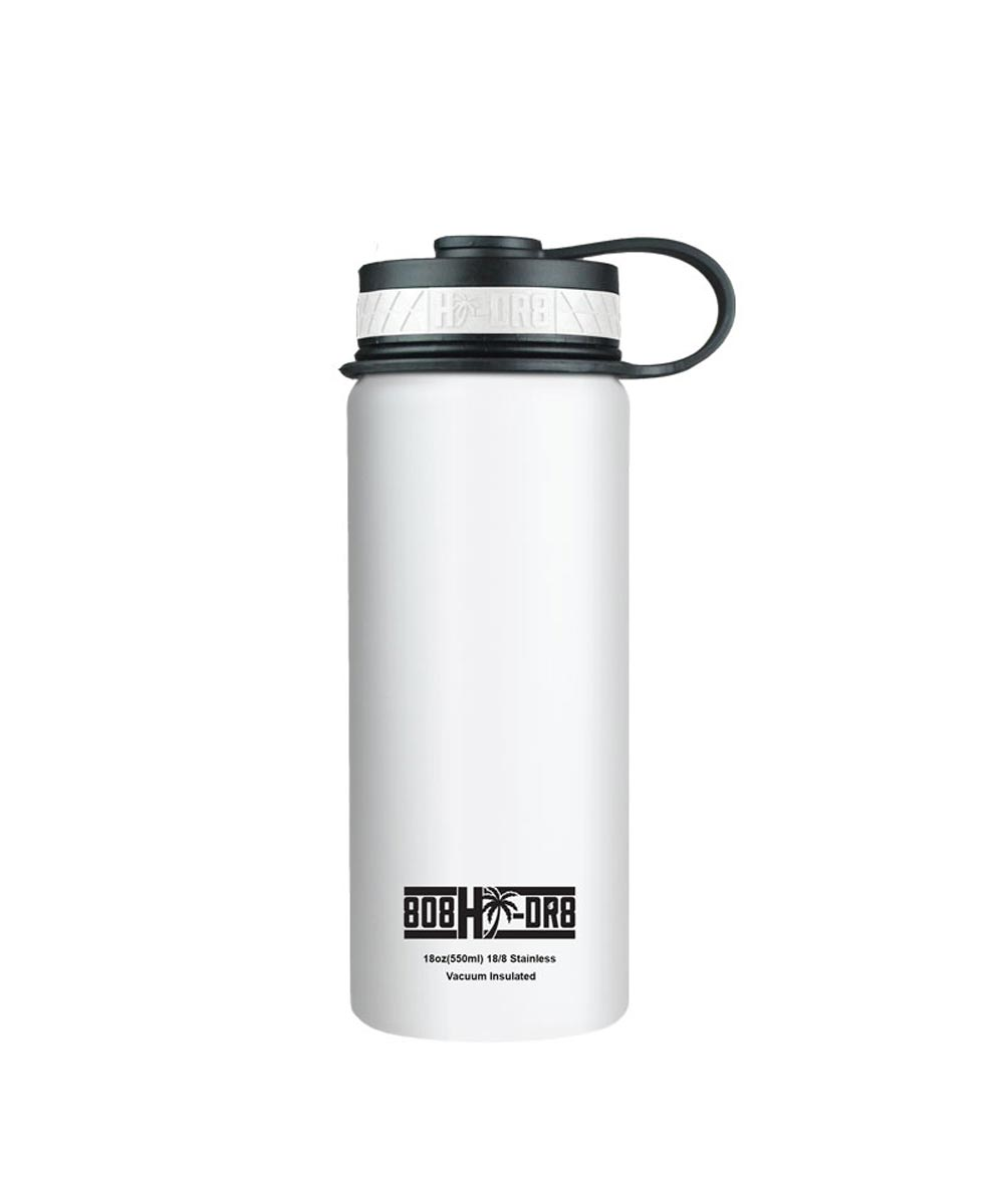 18 oz Stainless Steel Vacuum Insulated Water Bottle, White Pikake