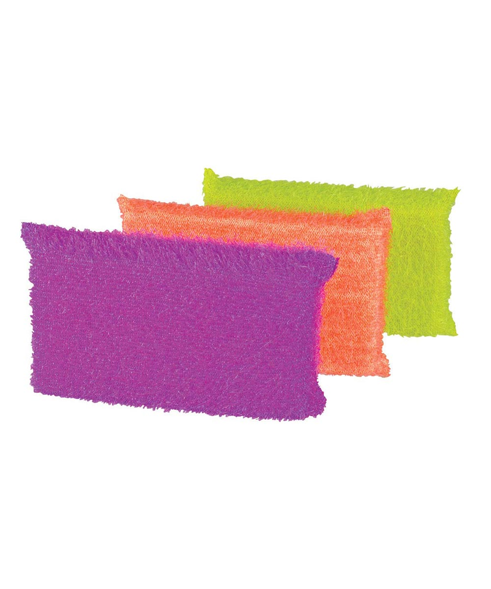 Glass & Non-Stick Safe Dish Scrub Sponge, Multi-Color 3 Pack