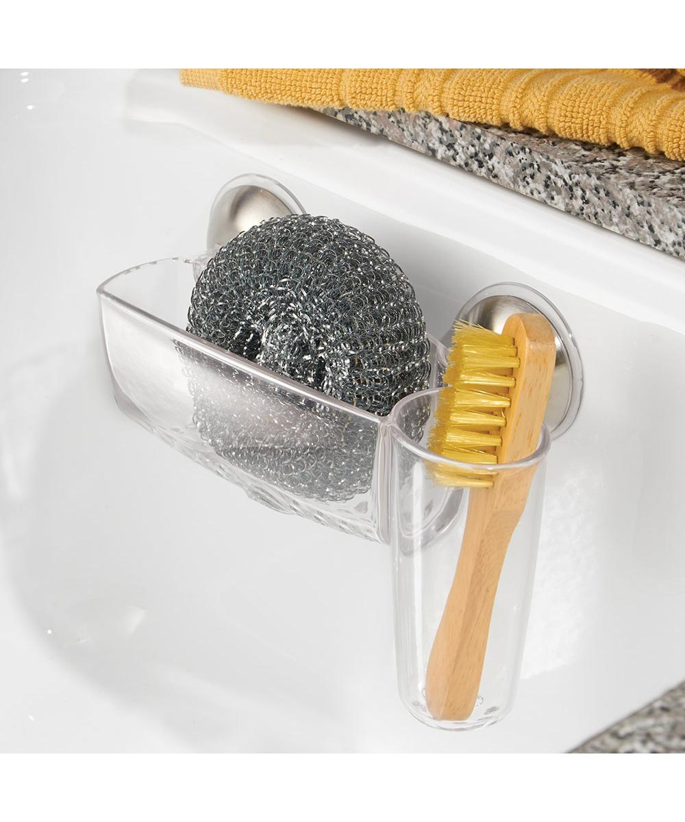 Forma 2 Power Lock Kitchen Sink Suction Sponge & Brush Cup, Plastic & Stainless Steel