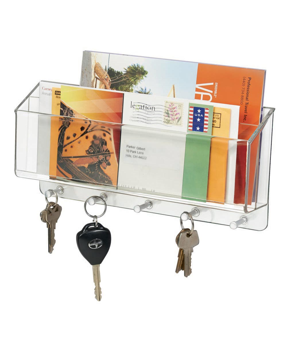 Linus Wall-Mounted Plastic Mail & Key Center Organizer