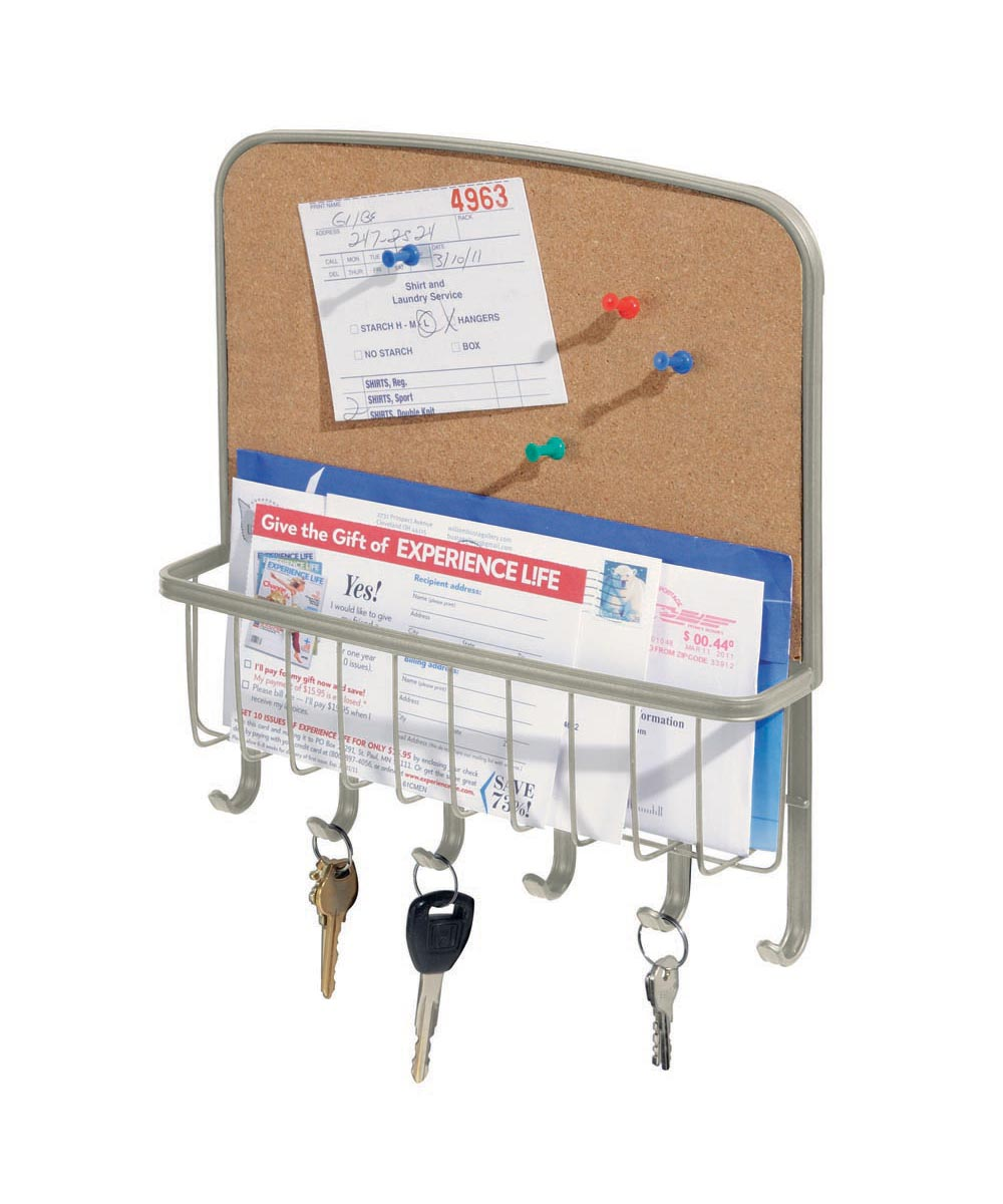 Tork Wall-Mounted Cork Board Mail & Key Organizer