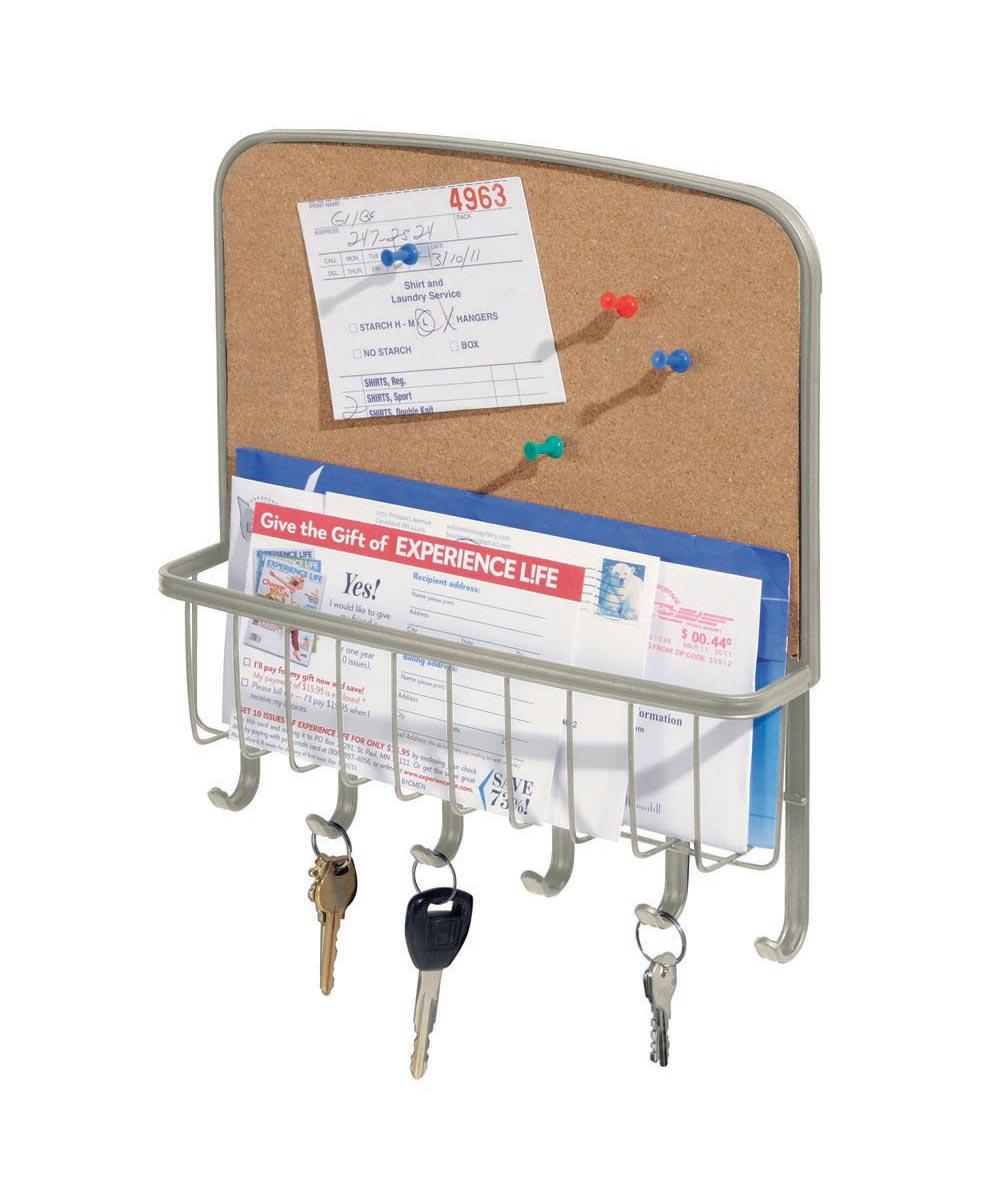 Tork Wall-Mounted Cork Board Mail & Key Organizer