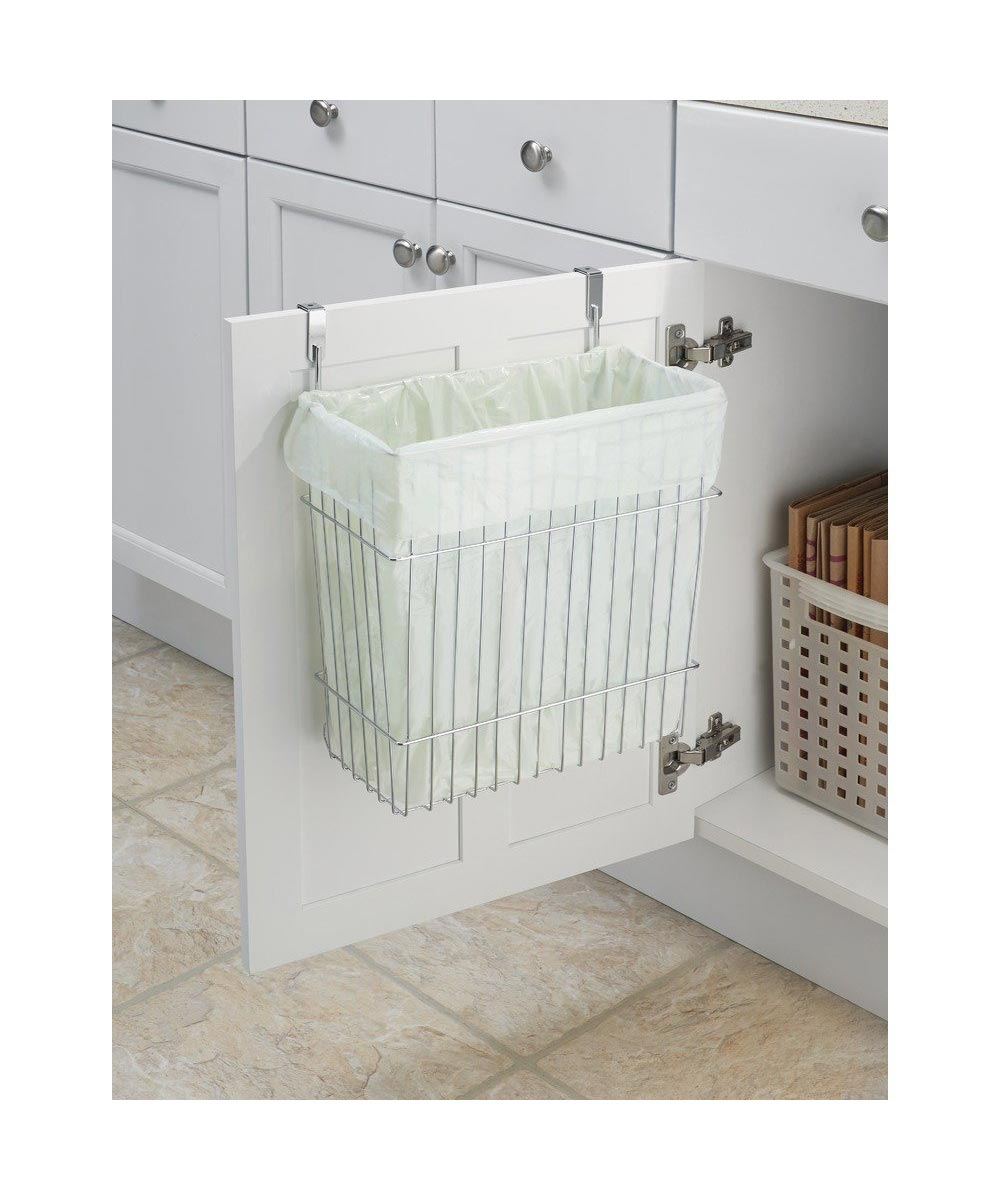 Classico Over-the-Door Cabinet Metal Trash Can / Storage Basket, Chrome Finish