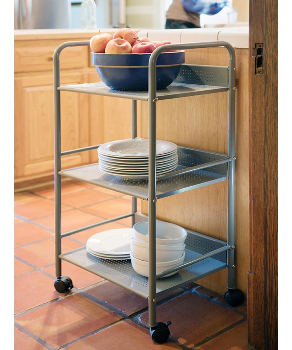 3-Tier Shelving Storage Cart with Casters, Moon Mist Silver