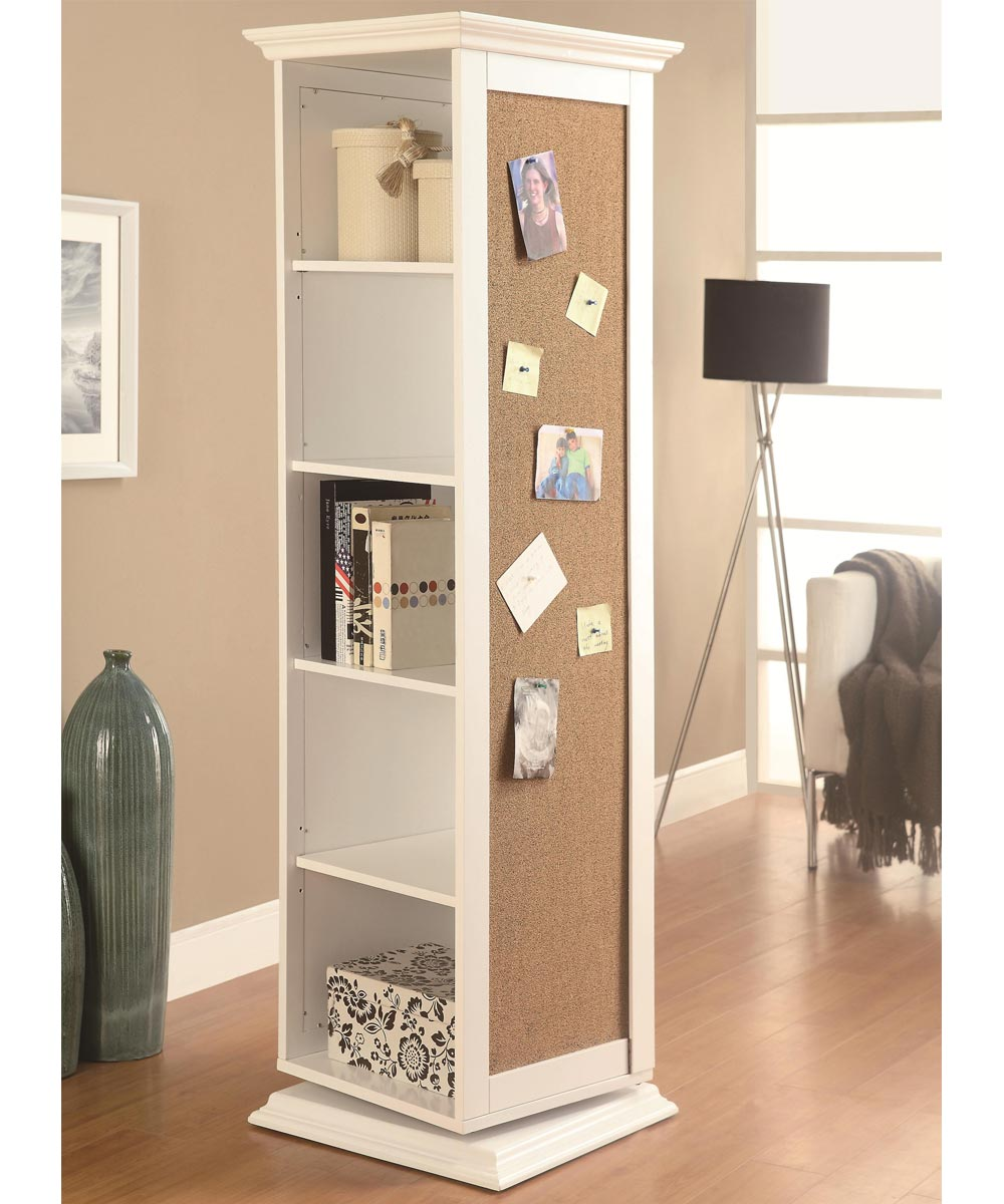 Accent Cabinets - White Swivel Storage Cabinet with Cork Board