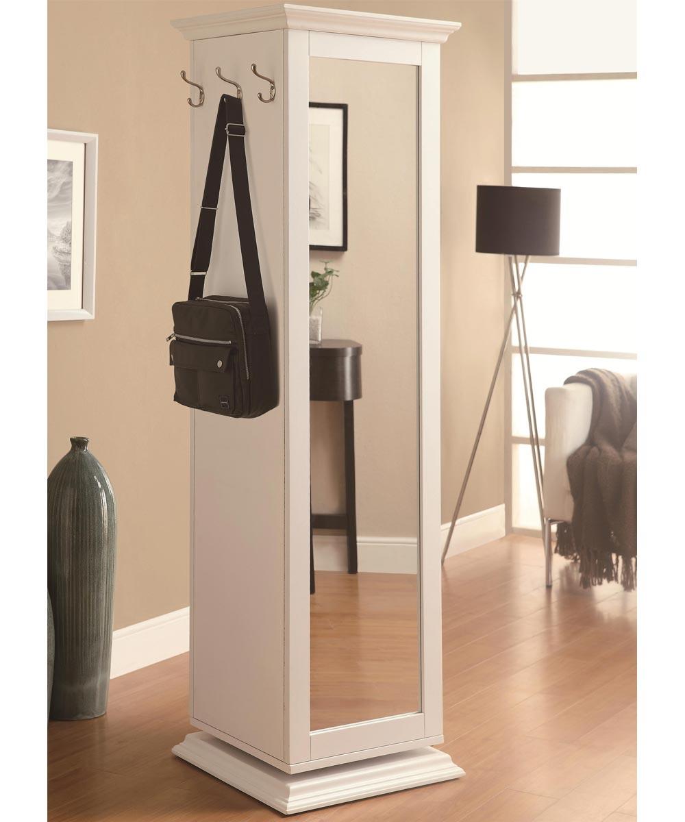 Accent Cabinets - White Swivel Storage Cabinet with Cork Board