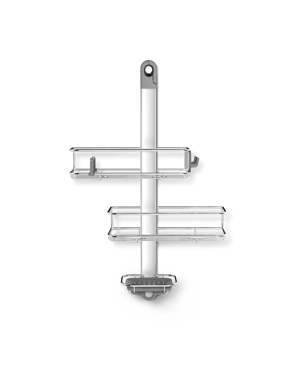 Adjustable Hanging Shower Caddy, Stainless Steel + Anodized Aluminum
