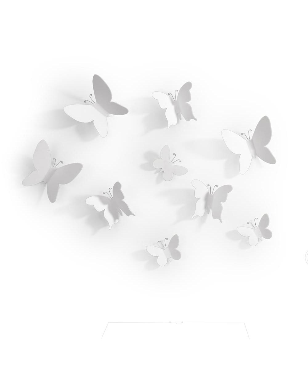 Mariposa White Butterflies Wall Decoration, Set of 9