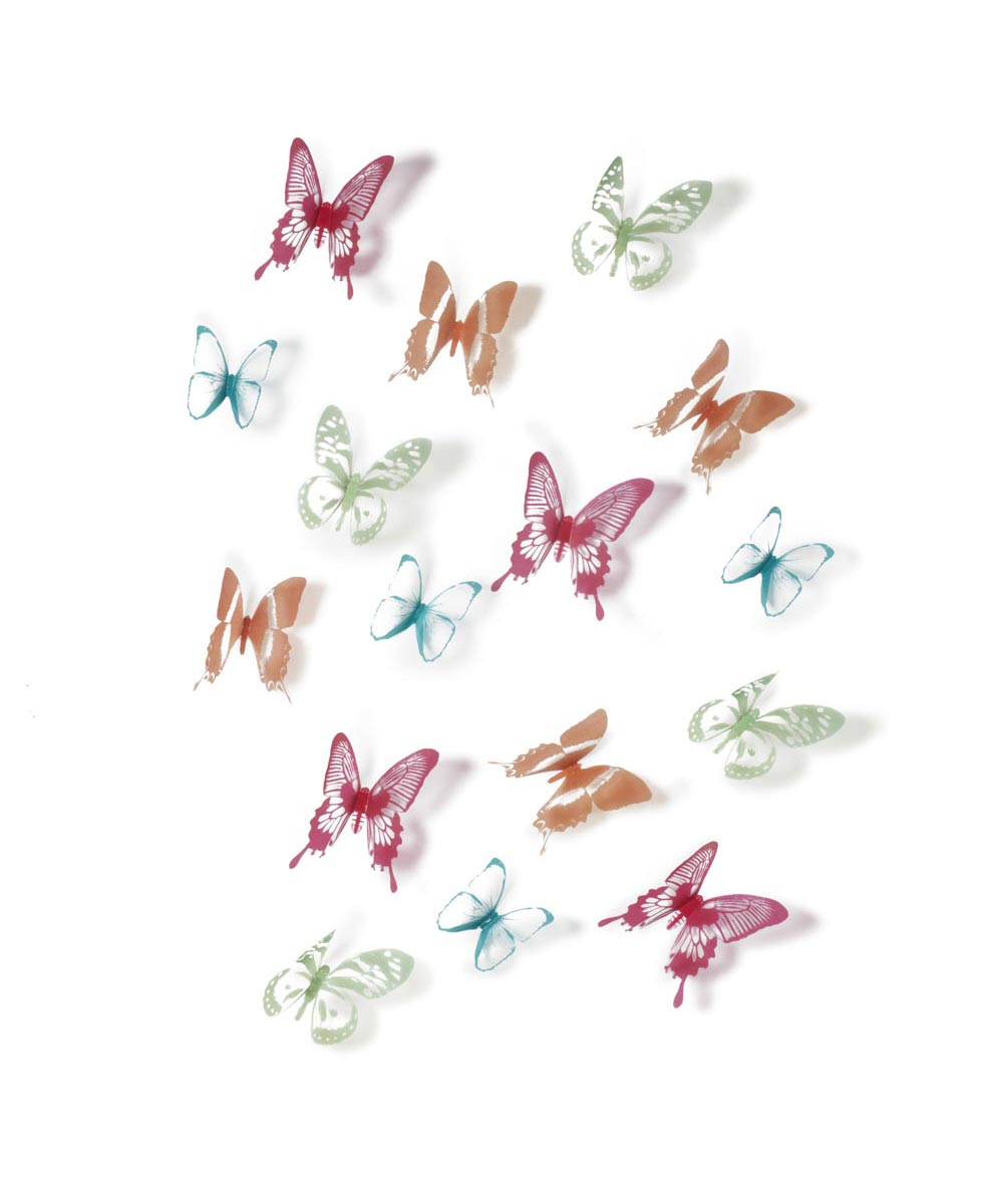 Chrysalis Color Butterflies Wall Decoration, Set of 16
