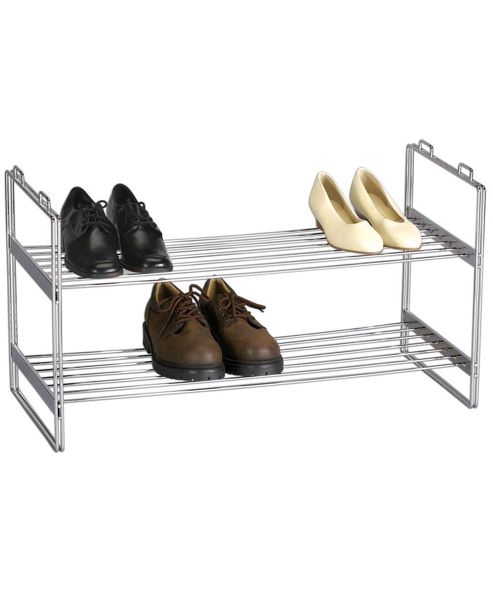 Stackable 2-Tier Shoe Rack, Chrome