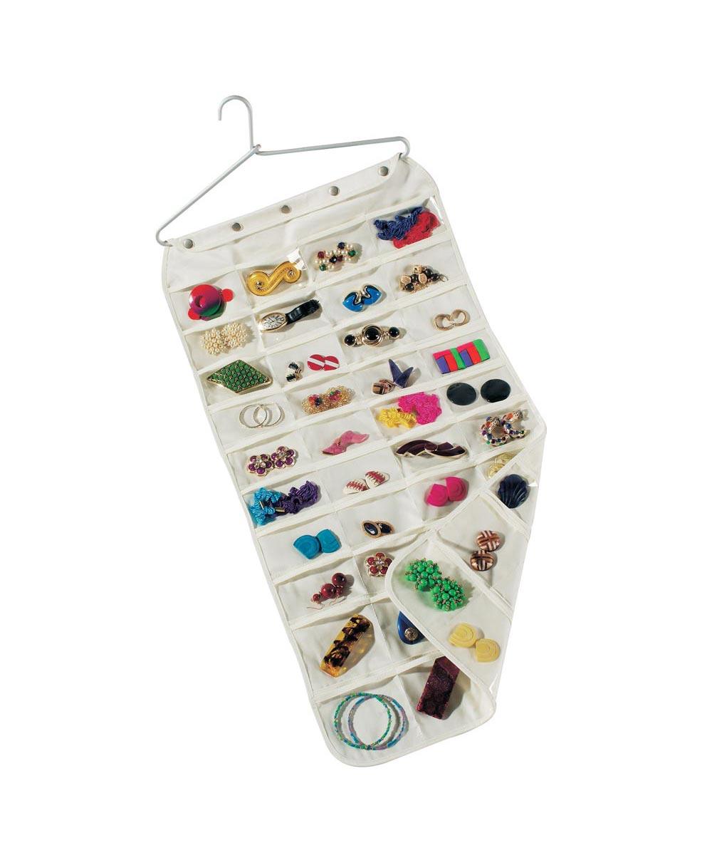 Hanging 80-Pocket Canvas Jewelry Organizer