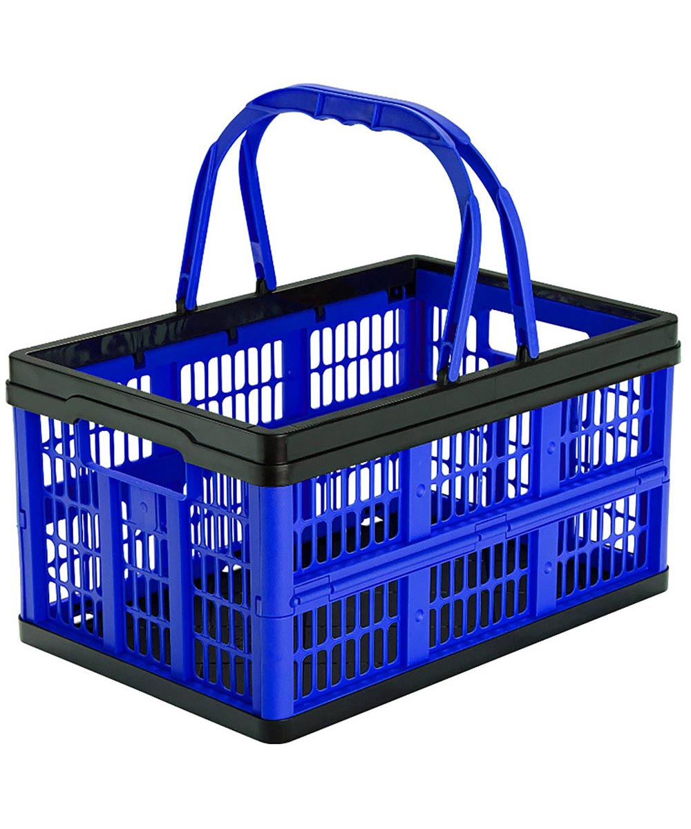 Folding Shopping Basket, 16 Liter 22 Pound Capacity, Blue