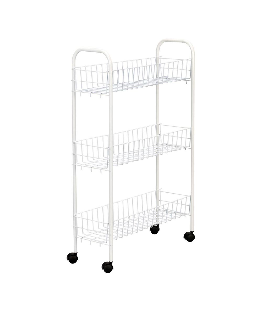 Slimline 3-Shelf Utility Cart, White