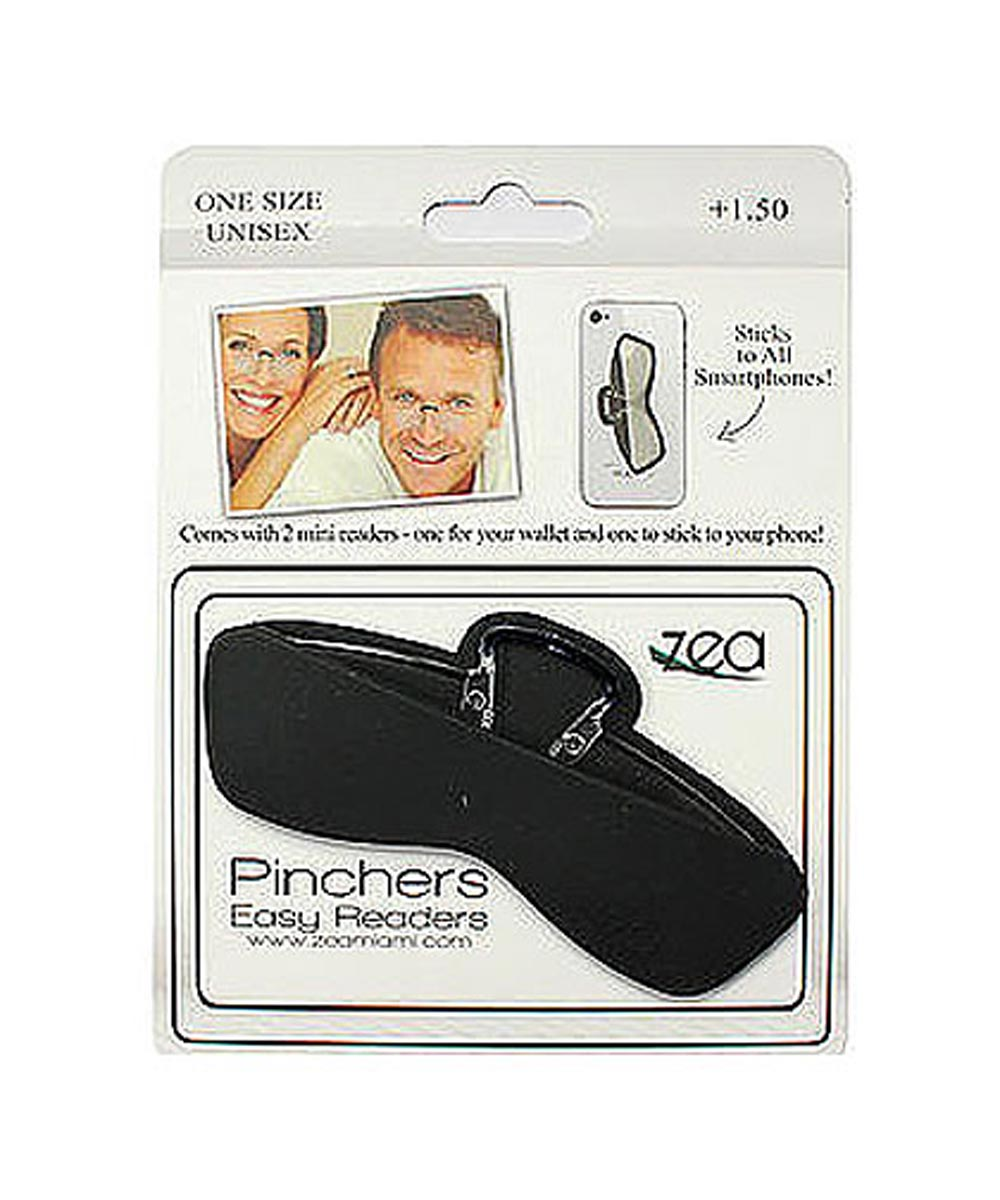 Pinchers Easy Readers 2-Pack Frameless Reading Glasses with Stick-On Silicone Case, +1.50 Strength