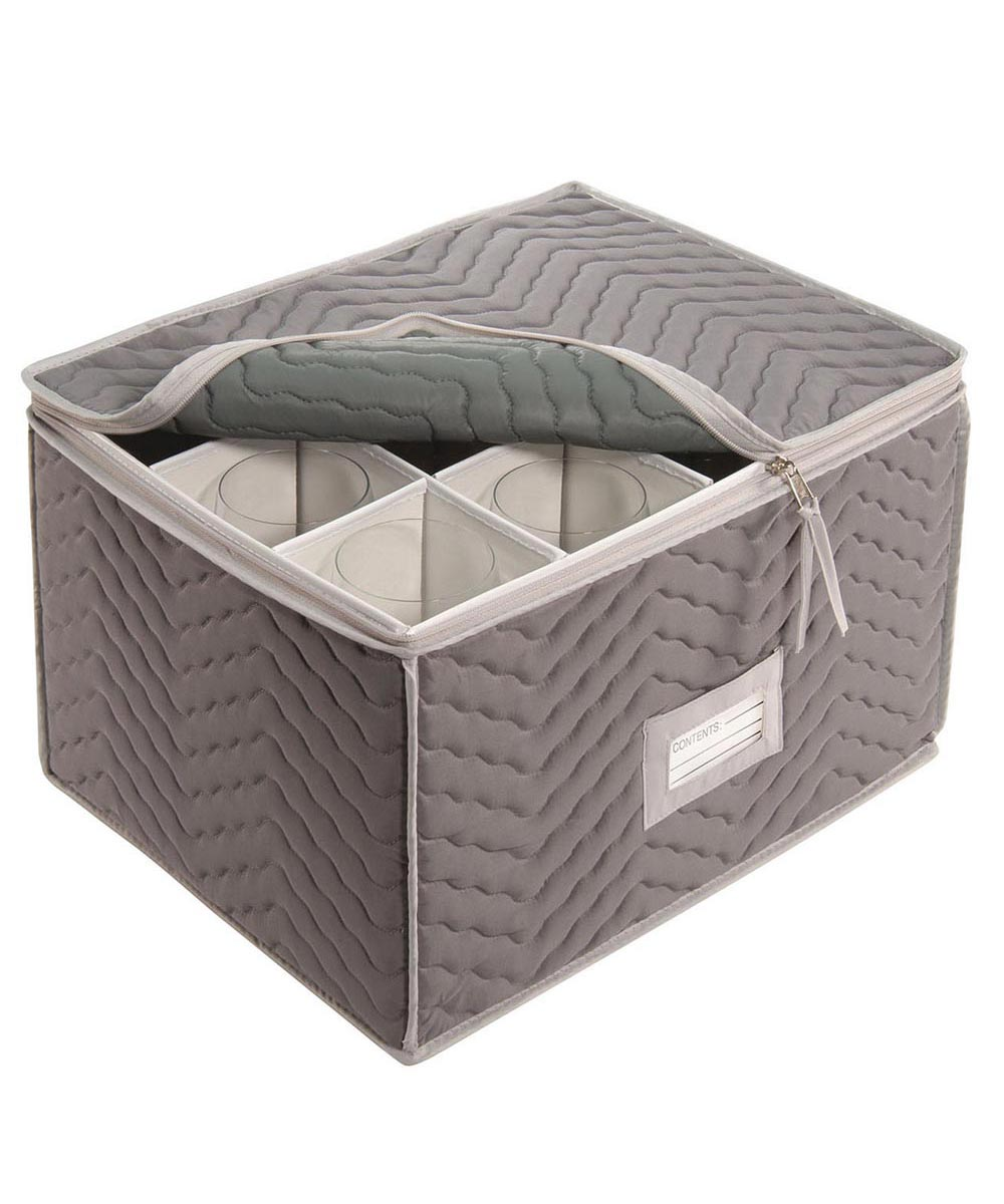 Deluxe Microfiber Stemware / Wine Glass Storage Chest