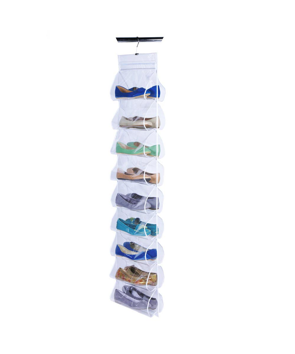 Clear 18-Pocket Hanging Shoe File Organizer