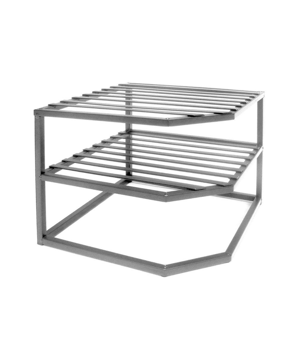 Mini Iron Corner Kitchen Cabinet Shelf Organizer, Platinum Finish