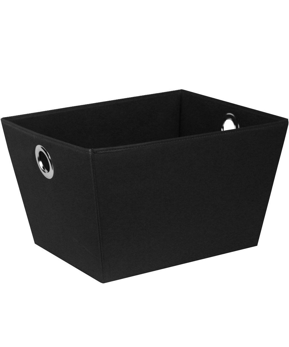 Oval Eyelet Tote Storage Bin, Large, Black