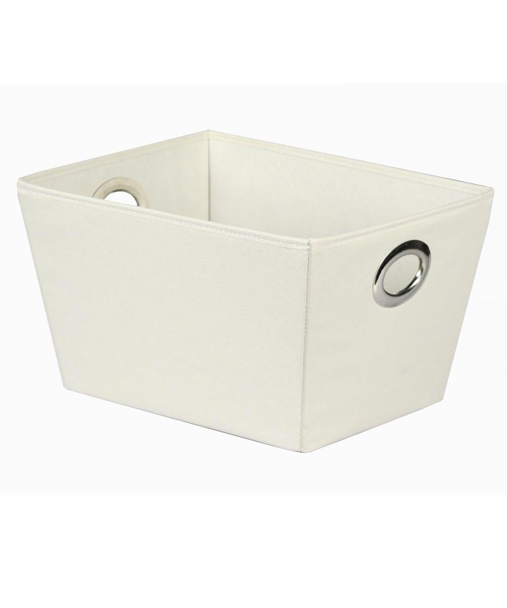 Oval Eyelet Tote Storage Bin, Medium, Ivory / White
