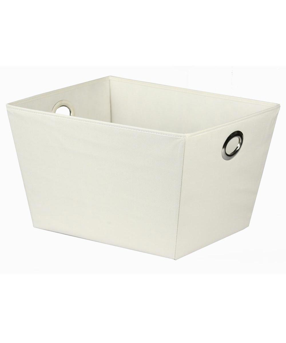Oval Eyelet Tote Storage Bin, Large, Ivory / White