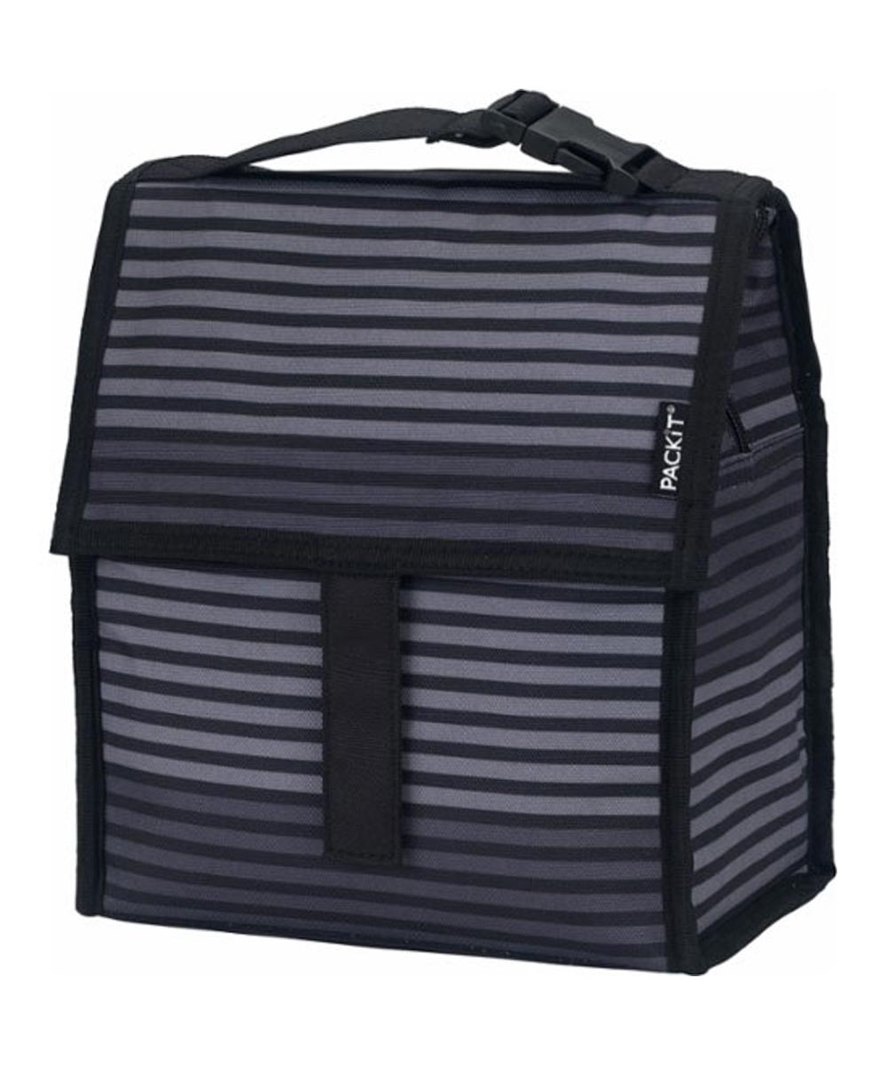 Freezable Lunch Bag, Gray Stripe Design