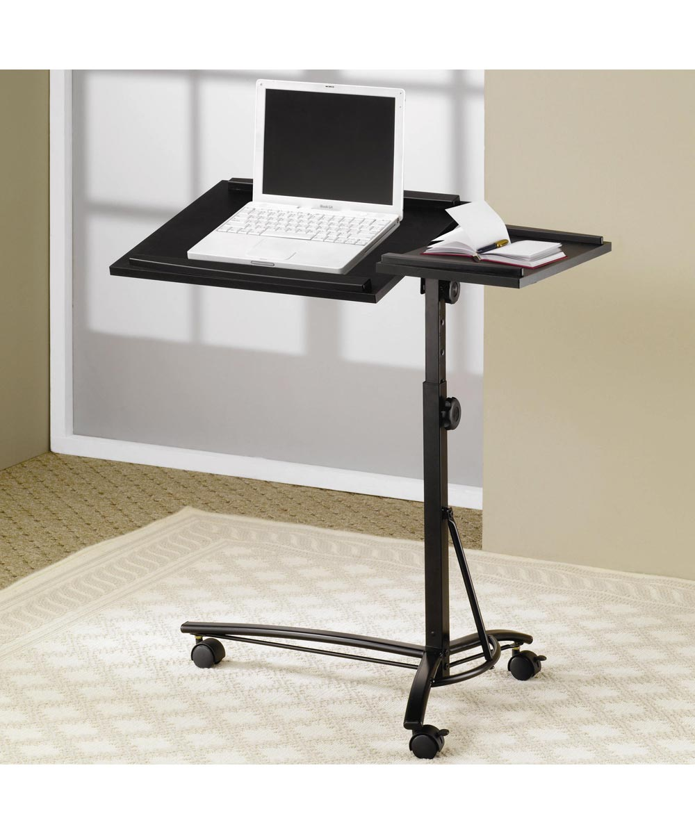 Desks Collection - Laptop Computer Stand with Adjustable Swivel Top and Casters
