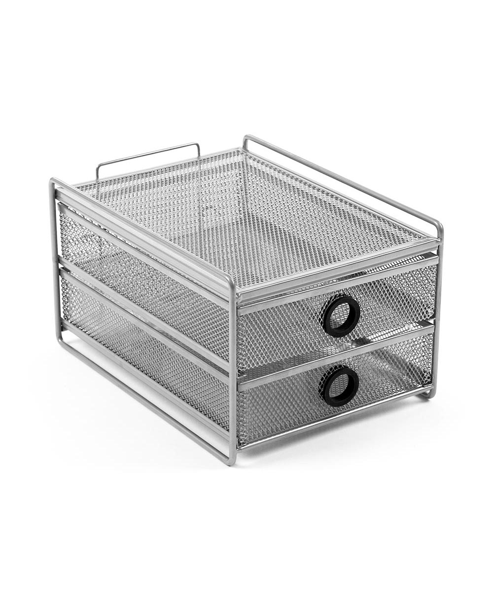 Narrow 2-Drawer Digit Desk Unit Mesh Organizer, Silver with Black Accent