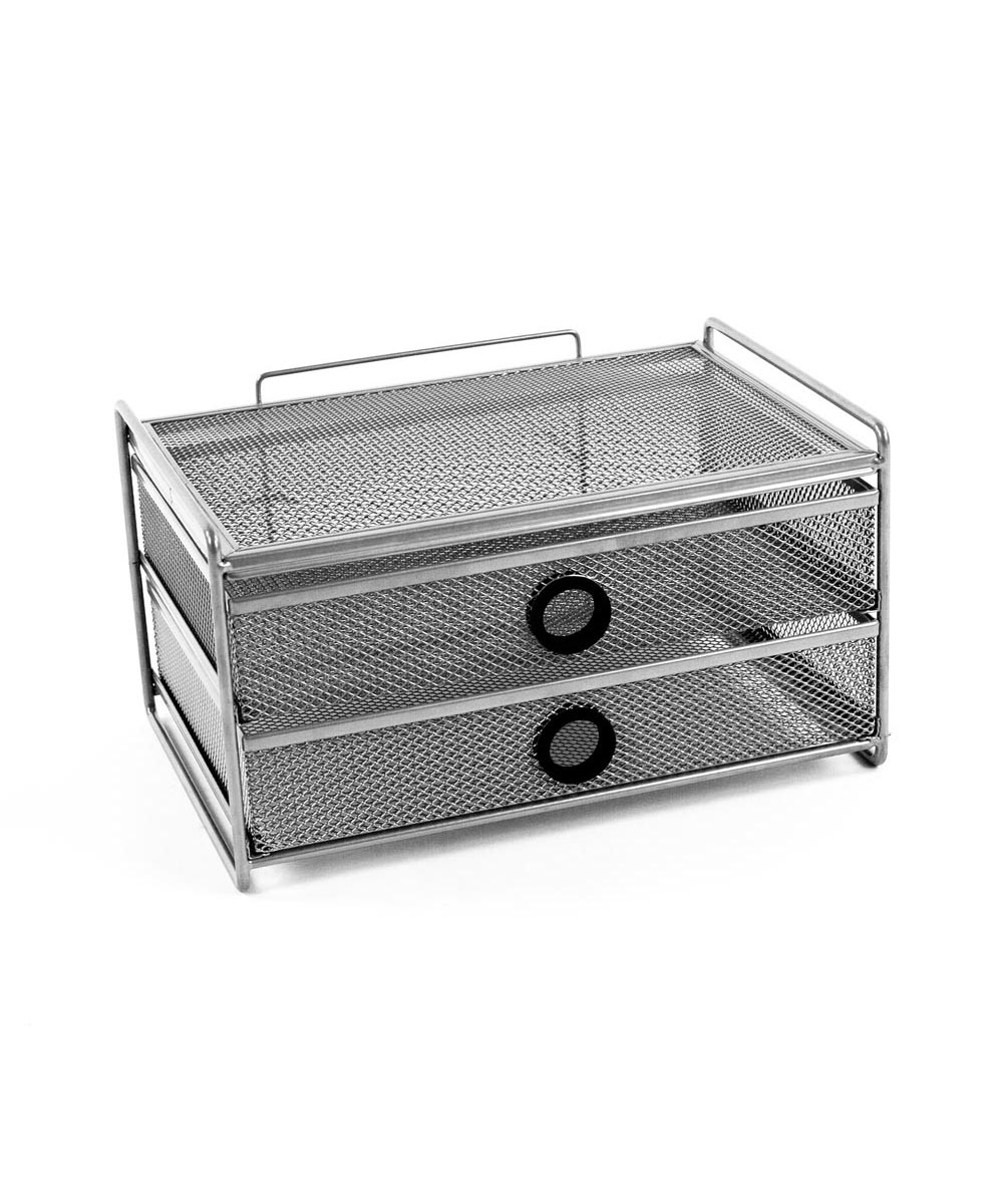 Wide 2-Drawer Digit Desk Unit Mesh Organizer, Silver with Black Accent